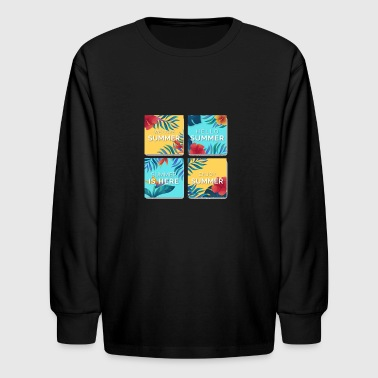 floral summer cards in water color - Kids' Long Sleeve T-Shirt
