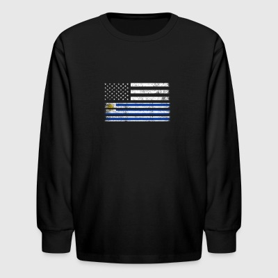 Uruguayan American Flag - USA Uruguay Shirt - Kids' Long Sleeve T-Shirt