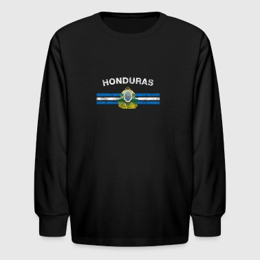 Honduran Flag Shirt - Honduran Emblem & Honduras F - Kids' Long Sleeve T-Shirt