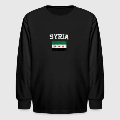 Syrian Flag Shirt - Vintage Syria T-Shirt - Kids' Long Sleeve T-Shirt