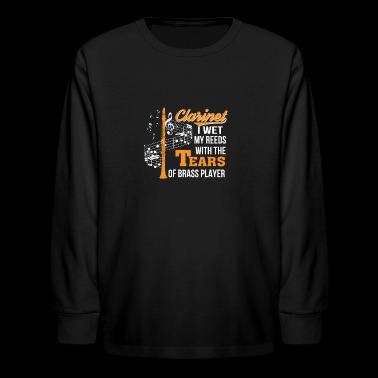 Clarinet Player Wet Reed Tear Brass Player - Kids' Long Sleeve T-Shirt