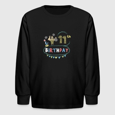 Carnival Theme Strongman 11th Birthday - Kids' Long Sleeve T-Shirt
