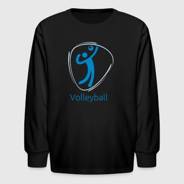 Volleyball_blue - Kids' Long Sleeve T-Shirt