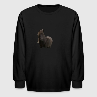 Low Poly Icelandic Horse - Kids' Long Sleeve T-Shirt