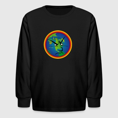 earth looks angry - Kids' Long Sleeve T-Shirt