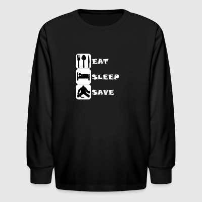 Eat Sleep Save Hockey - Kids' Long Sleeve T-Shirt