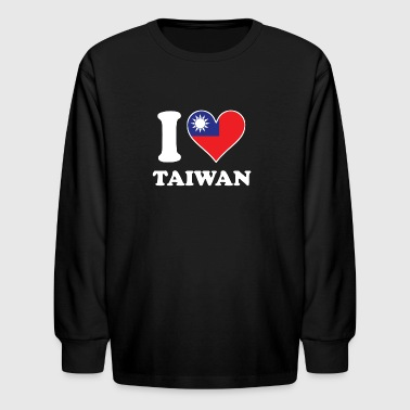 I Love Taiwan Taiwanese Flag Heart - Kids' Long Sleeve T-Shirt