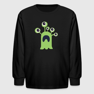 green_five_eye_monster - Kids' Long Sleeve T-Shirt