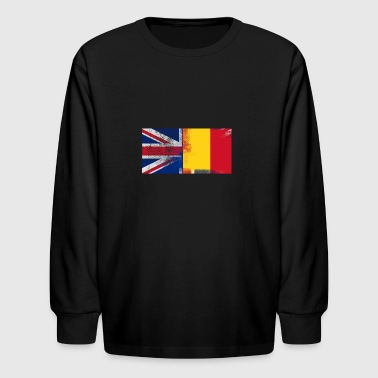 British Romanian Half Romania Half UK Flag - Kids' Long Sleeve T-Shirt