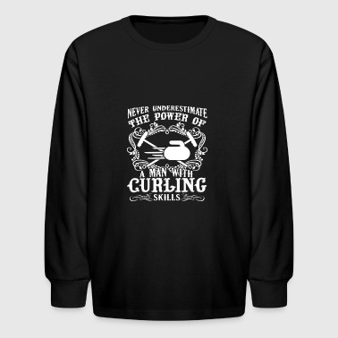 Man With Curling Skills Shirt - Kids' Long Sleeve T-Shirt
