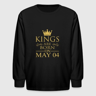 Kings are born on May 04 - Kids' Long Sleeve T-Shirt