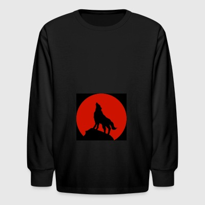 WolfPack Red Moon Design | Tiggah The Rapper - Kids' Long Sleeve T-Shirt