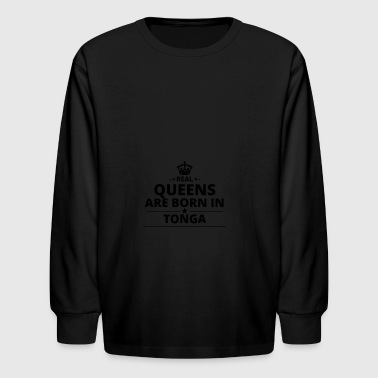 geschenk love queens are born TONGA - Kids' Long Sleeve T-Shirt