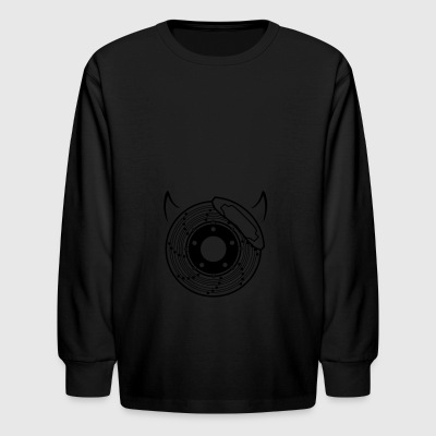 car bike cycle brake disc and devil horns - Kids' Long Sleeve T-Shirt