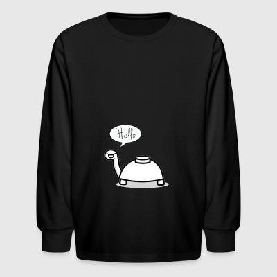 Mine turtle stops by to say hello - Kids' Long Sleeve T-Shirt