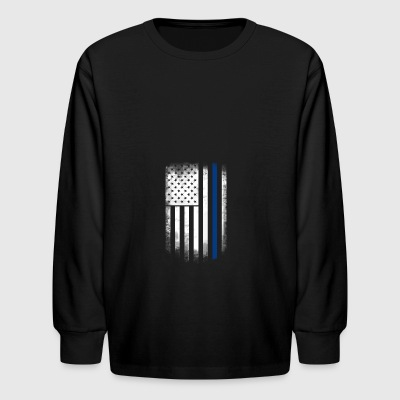 american flag blue line police solidarity team - Kids' Long Sleeve T-Shirt