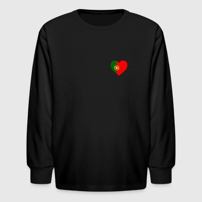 Portugal Flag Shirt Heart - Portuguese Shirt - Kids' Long Sleeve T-Shirt