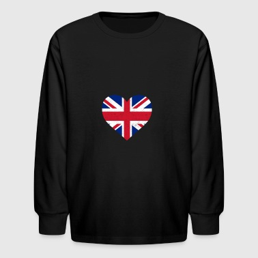 UK Flag Shirt Heart - Brittish Shirt - Kids' Long Sleeve T-Shirt
