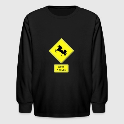 Unicorn traffic sign - Kids' Long Sleeve T-Shirt