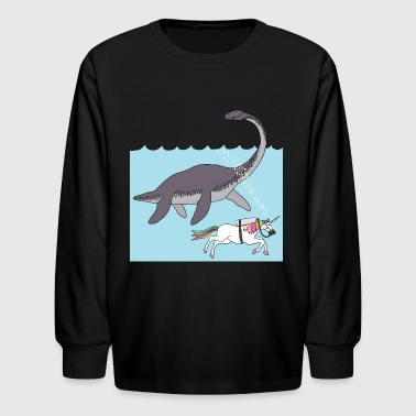 unicorn swimming with loch ness monster - Kids' Long Sleeve T-Shirt
