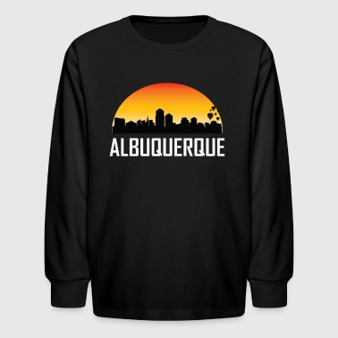 Sunset Skyline Silhouette of Albuquerque NM - Kids' Long Sleeve T-Shirt