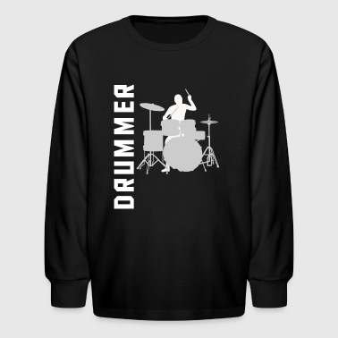 Drummer Silhouette Cool Drumming - Kids' Long Sleeve T-Shirt