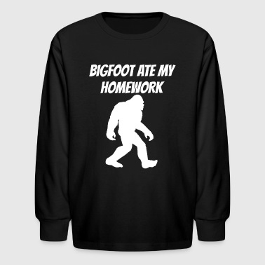 Bigfoot Ate My Homework - Kids' Long Sleeve T-Shirt
