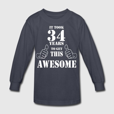 34th Birthday Get Awesome T Shirt Made in 1983 - Kids' Long Sleeve T-Shirt