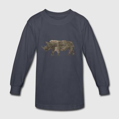 Silhouette Jungle Series Rhino - Kids' Long Sleeve T-Shirt