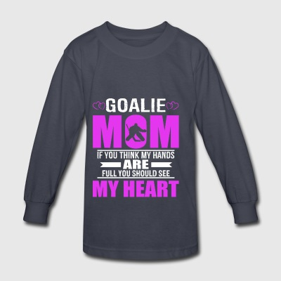Hockey Goalie Moms Full Heart Mothers Day T-Shirt - Kids' Long Sleeve T-Shirt