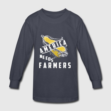 America needs Farmer T Shirts - Kids' Long Sleeve T-Shirt