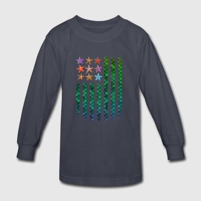 American Mermaid Flag Starfish & Stripes - Kids' Long Sleeve T-Shirt