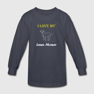 I Love my Lawn Mower Goat Tee - Kids' Long Sleeve T-Shirt
