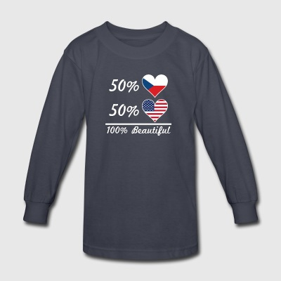 50% Czech 50% American 100% Beautiful - Kids' Long Sleeve T-Shirt