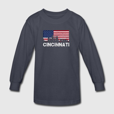 Cincinnati OH American Flag Skyline Distressed - Kids' Long Sleeve T-Shirt