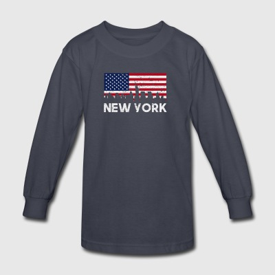 New York City American Flag Skyline Distressed - Kids' Long Sleeve T-Shirt