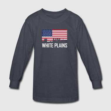 White Plains New York Skyline American Flag - Kids' Long Sleeve T-Shirt