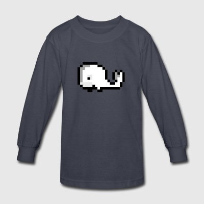 Pixel Whale - Kids' Long Sleeve T-Shirt