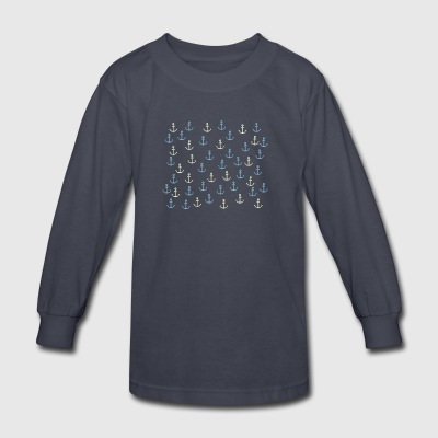 Anchor Pattern - Kids' Long Sleeve T-Shirt