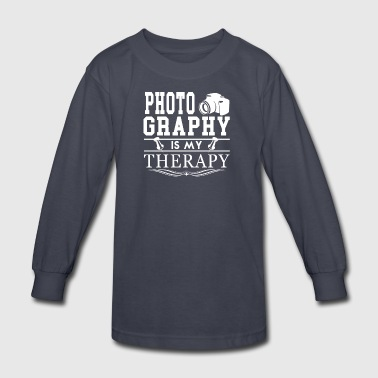 Photography Is My Therapy Tee Shirt - Kids' Long Sleeve T-Shirt