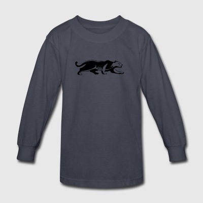 crouching_black_panther - Kids' Long Sleeve T-Shirt