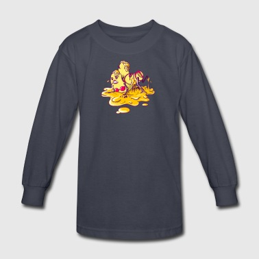 Hot Macs Wrestling in Cheese - Kids' Long Sleeve T-Shirt