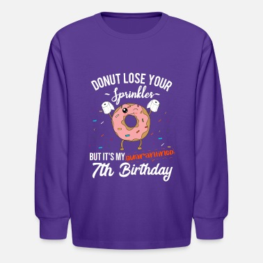 Lose 7th Birthday Quarantine - Funny Donut Quote Gift - Kids' Longsleeve Shirt