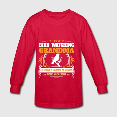 Bird Watching Grandma Shirt Gift Idea - Kids' Long Sleeve T-Shirt