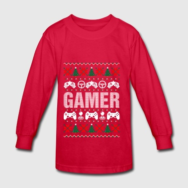 Gamer Ugly Christmas Sweater - Kids' Long Sleeve T-Shirt
