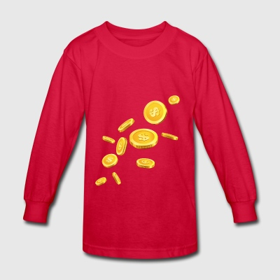 Coins Gold dollar - Kids' Long Sleeve T-Shirt