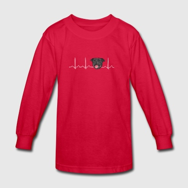 Heartbeat American Stafford Pitbull - Kids' Long Sleeve T-Shirt