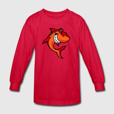 red_cartoon_shark - Kids' Long Sleeve T-Shirt