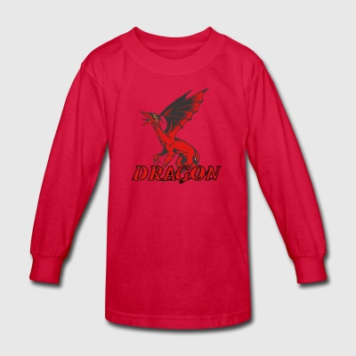 screaming_dragon_with_wings_red - Kids' Long Sleeve T-Shirt