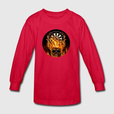 Flaming Skull Darts Shirt - Kids' Long Sleeve T-Shirt